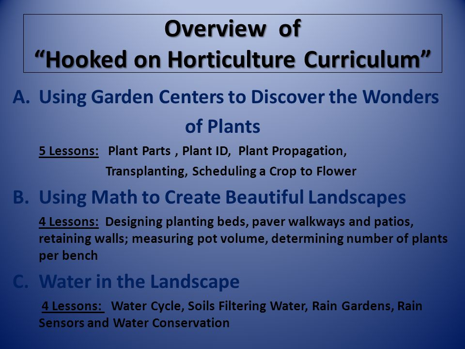 Overview of Hooked on Horticulture Curriculum