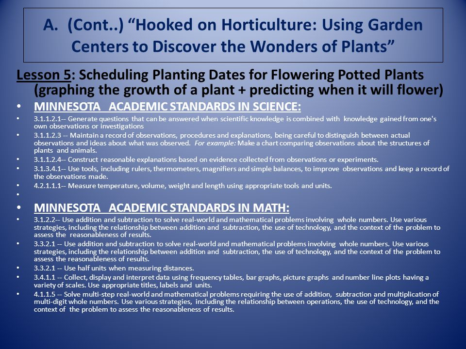 A. (Cont..) Hooked on Horticulture: Using Garden Centers to Discover the Wonders of Plants