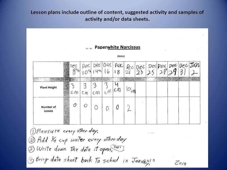 Lesson plans include outline of content, suggested activity and samples of activity and/or data sheets.