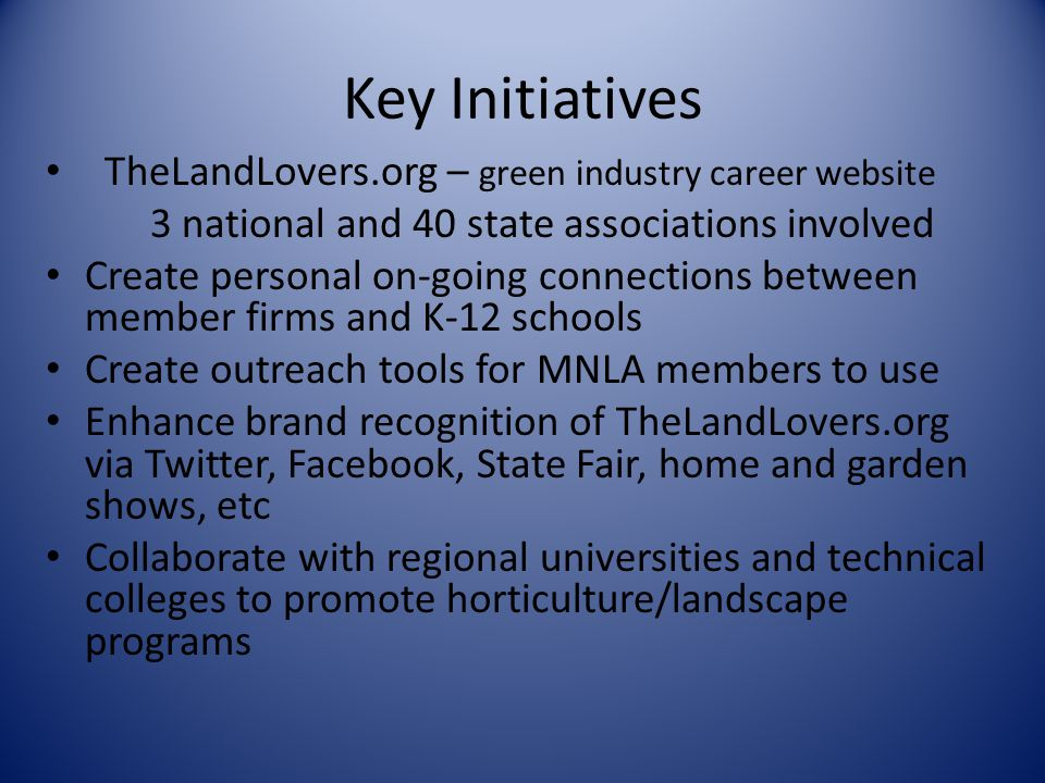 Key Initiatives TheLandLovers.org – green industry career website
