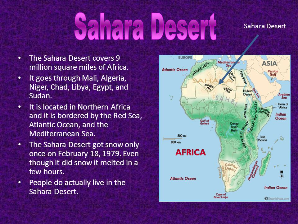 Sahara Desert Sahara Desert. The Sahara Desert covers 9 million square miles of Africa.