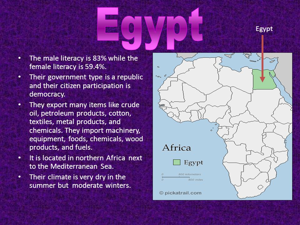 Egypt The male literacy is 83% while the female literacy is 59.4%.