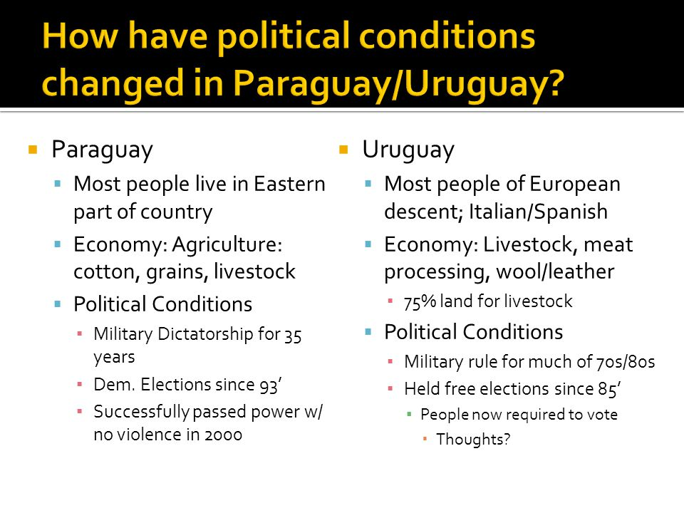 How have political conditions changed in Paraguay/Uruguay