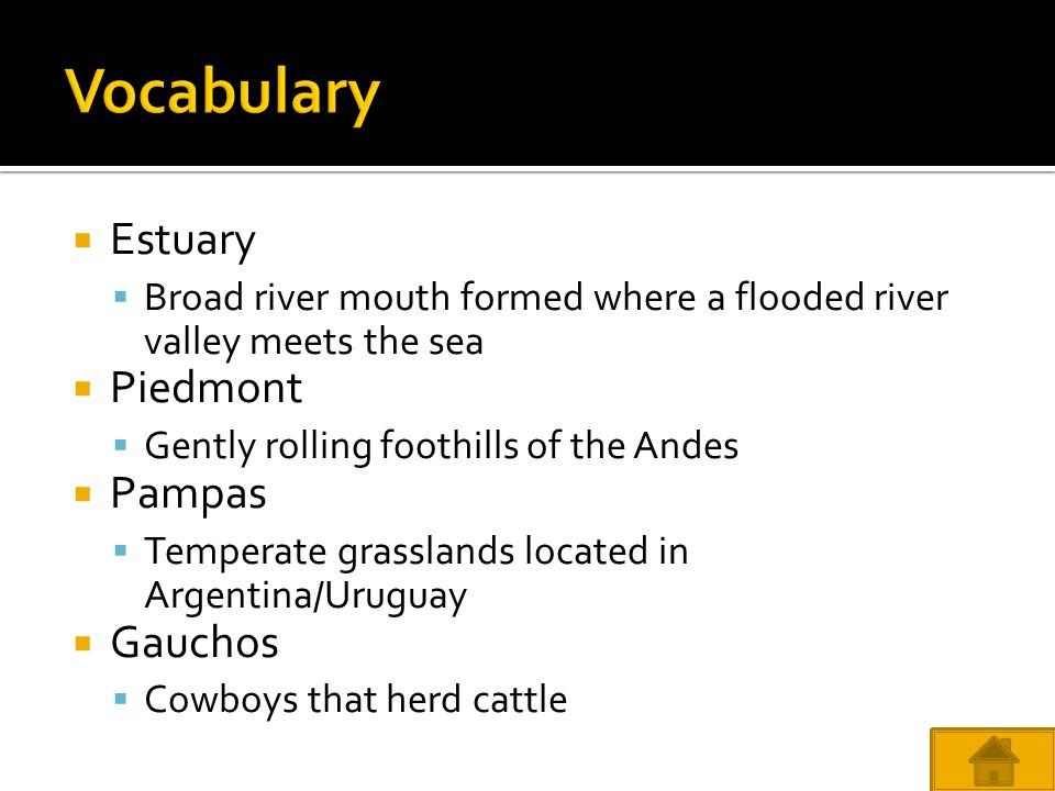 Vocabulary Estuary Piedmont Pampas Gauchos