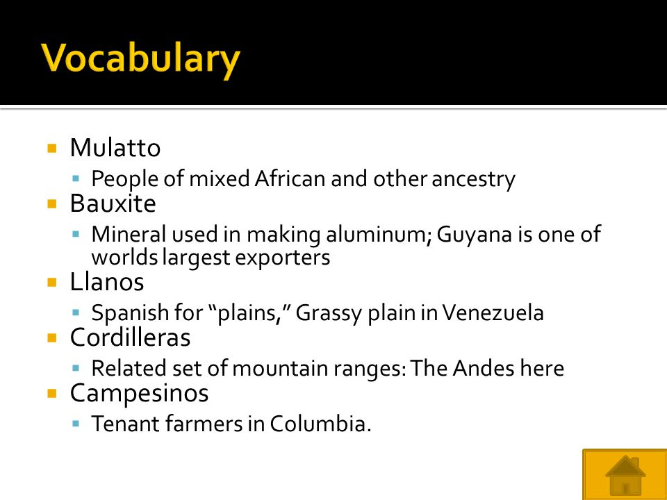 Vocabulary Mulatto Bauxite Llanos Cordilleras Campesinos