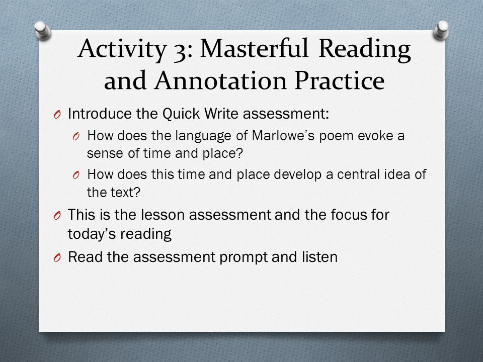 Activity 3: Masterful Reading and Annotation Practice
