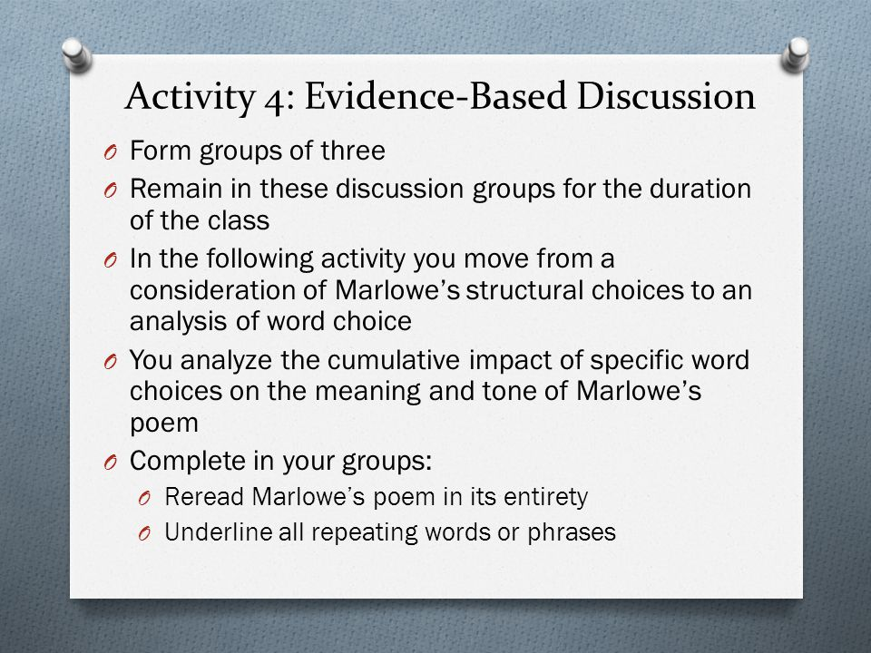 Activity 4: Evidence-Based Discussion
