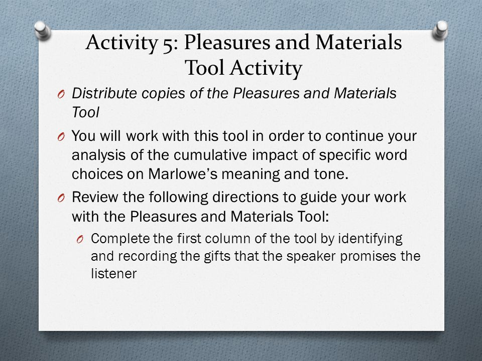 Activity 5: Pleasures and Materials Tool Activity