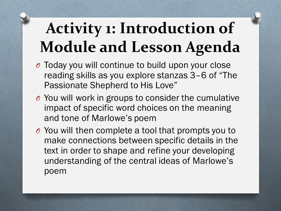 Activity 1: Introduction of Module and Lesson Agenda