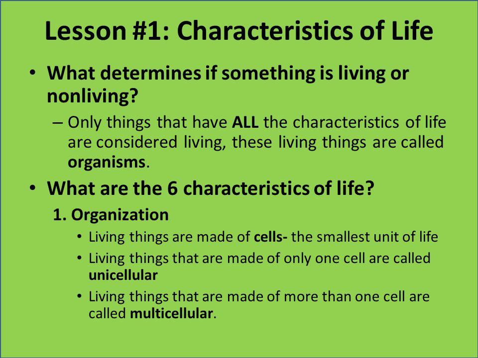 Lesson #1: Characteristics of Life