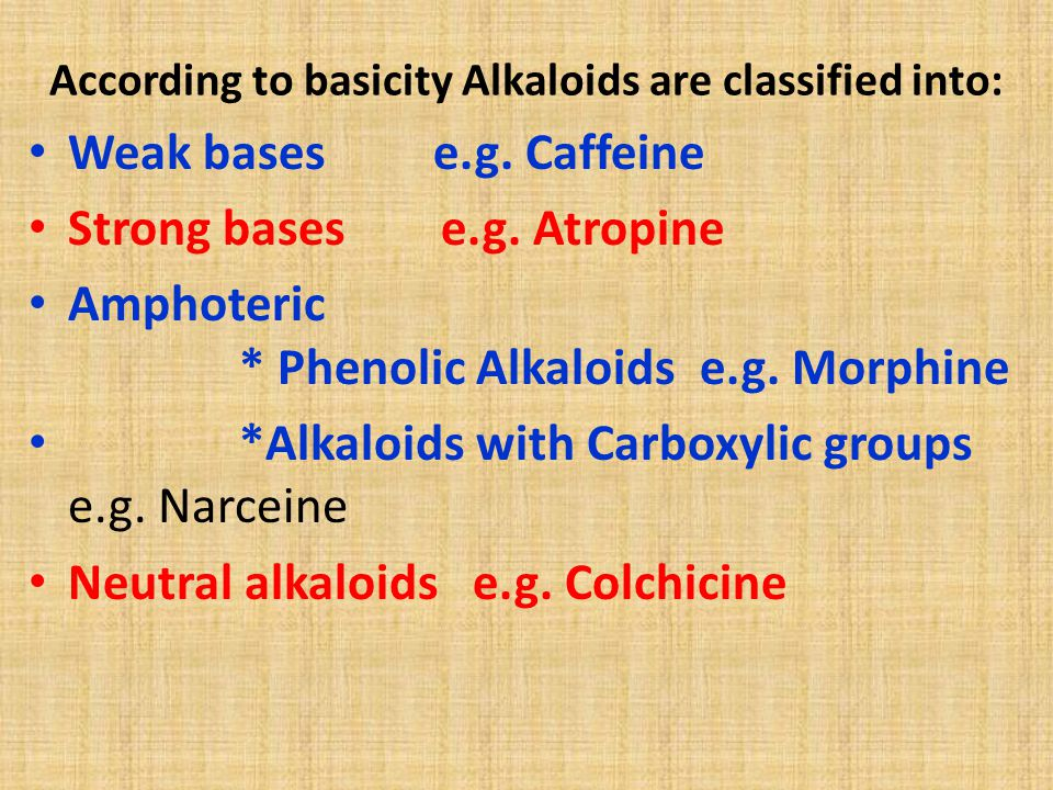 According to basicity Alkaloids are classified into: