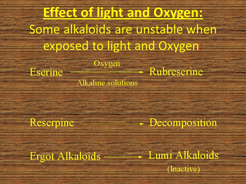 Effect of light and Oxygen: Some alkaloids are unstable when exposed to light and Oxygen: