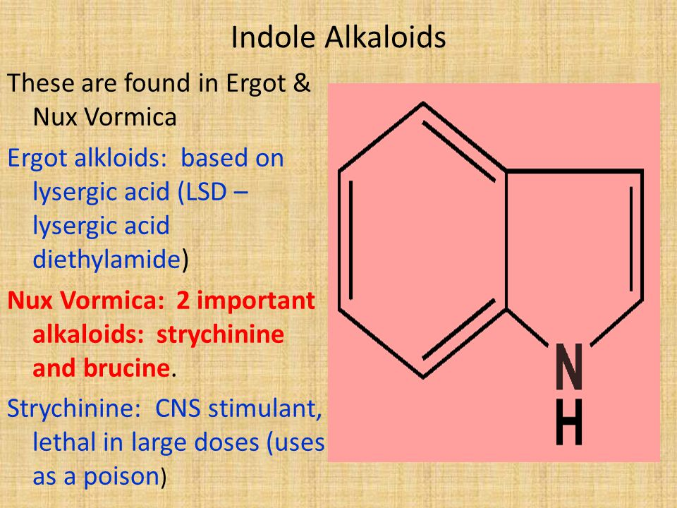 Indole Alkaloids These are found in Ergot & Nux Vormica
