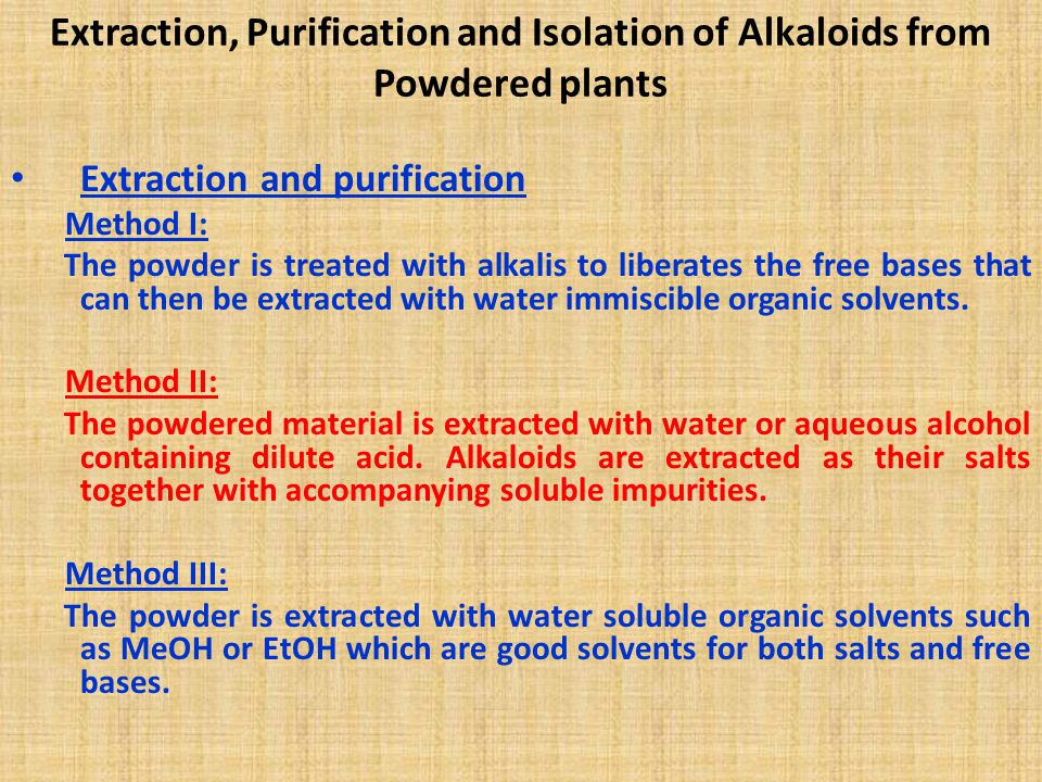 Extraction, Purification and Isolation of Alkaloids from Powdered plants
