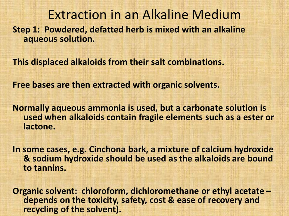 Extraction in an Alkaline Medium