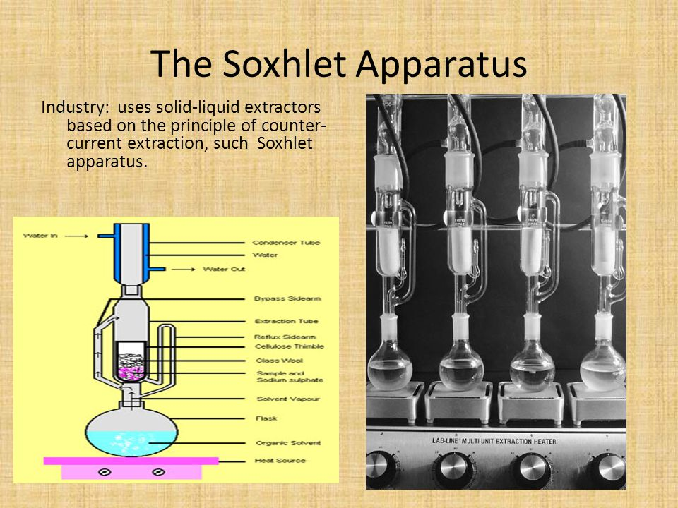 The Soxhlet Apparatus Industry: uses solid-liquid extractors based on the principle of counter-current extraction, such Soxhlet apparatus.