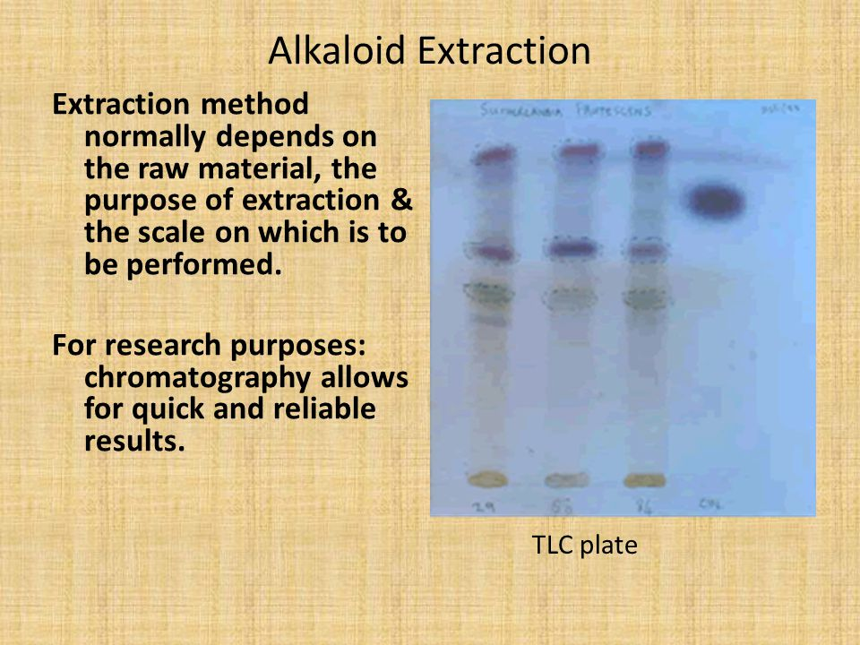 Alkaloid Extraction Extraction method normally depends on the raw material, the purpose of extraction & the scale on which is to be performed.