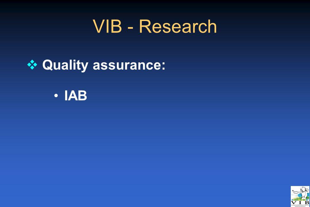 VIB - Research Quality assurance: IAB _Rotterdam 21/04/05