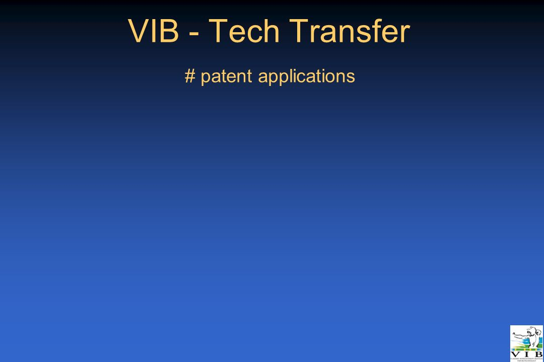 VIB - Tech Transfer # patent applications _Rotterdam 21/04/05
