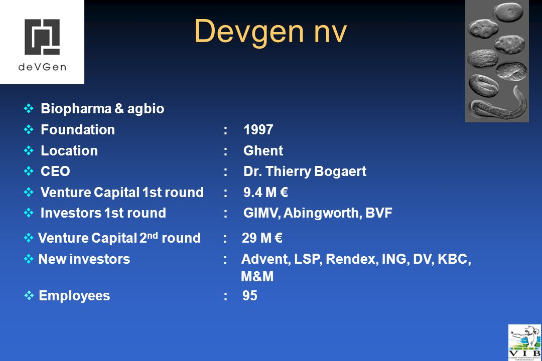 Devgen nv Biopharma & agbio Foundation : 1997 Location : Ghent