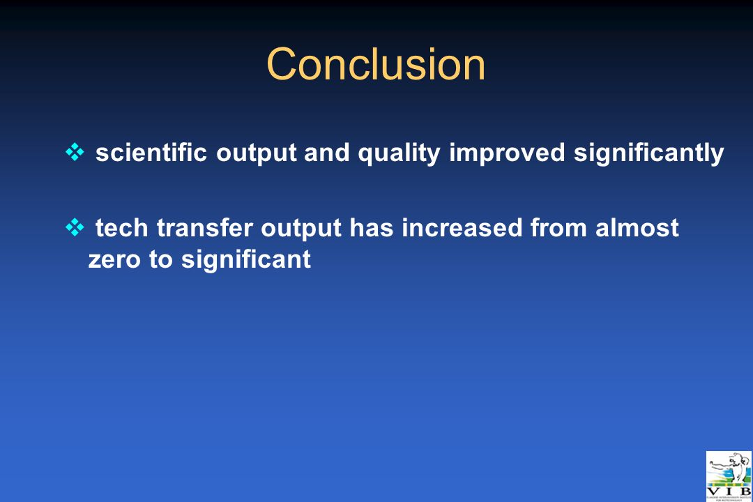 Conclusion scientific output and quality improved significantly