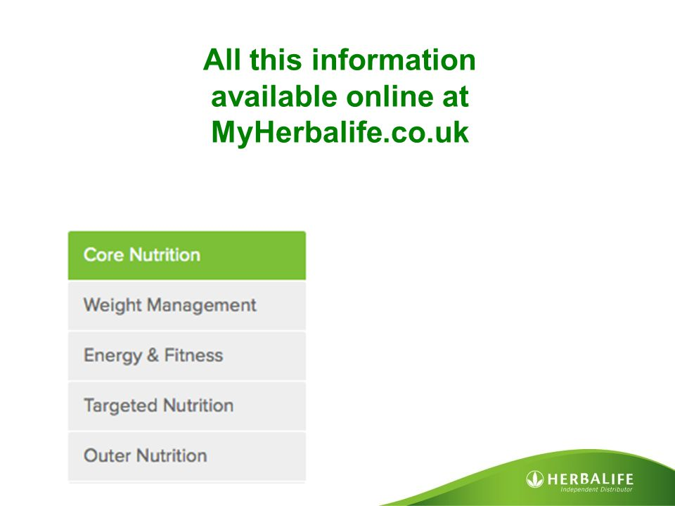 All this information available online at MyHerbalife.co.uk