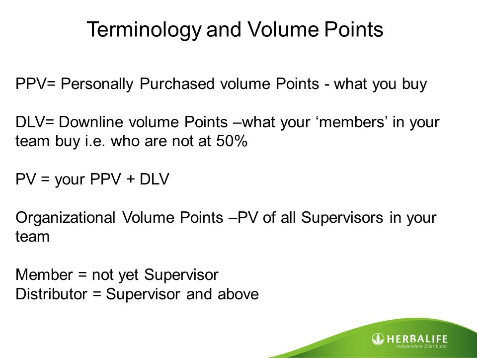 Terminology and Volume Points