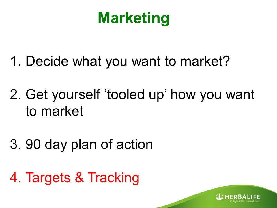 Marketing Decide what you want to market