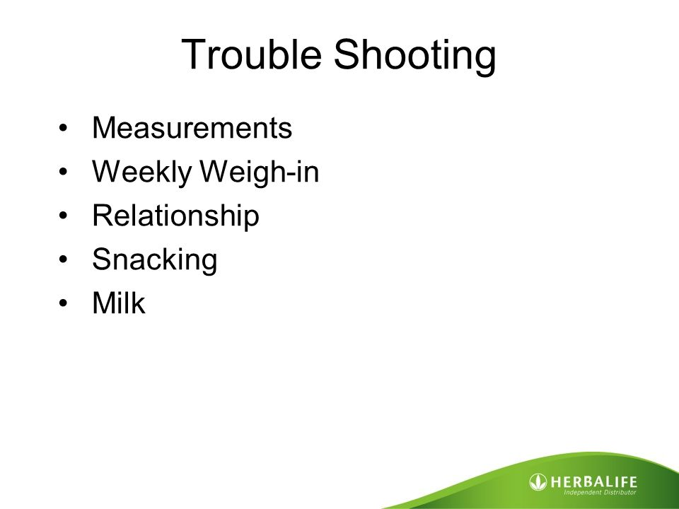 Trouble Shooting Measurements Weekly Weigh-in Relationship Snacking