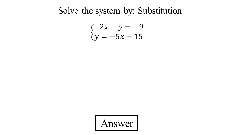 Solve the system by: Substitution