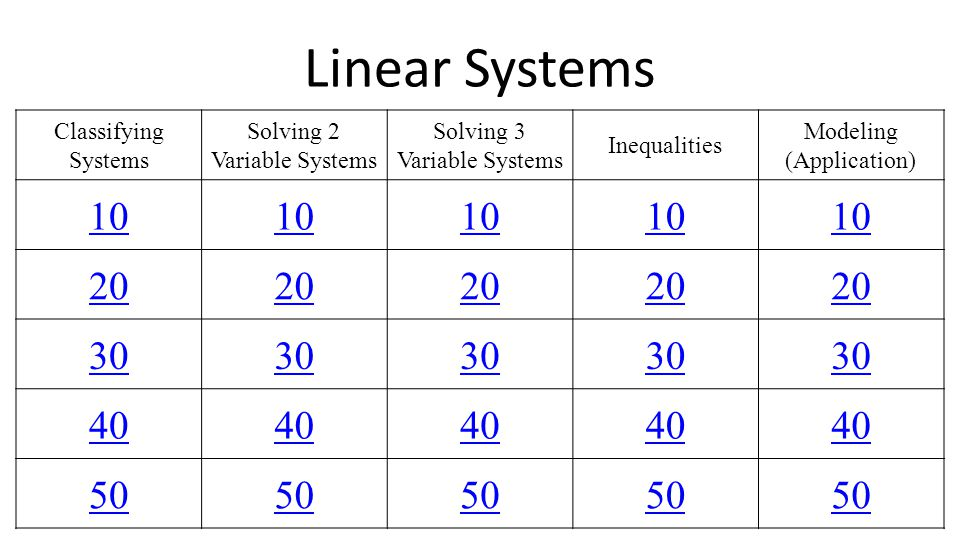 Linear Systems 10 20 30 40 50 Classifying Systems