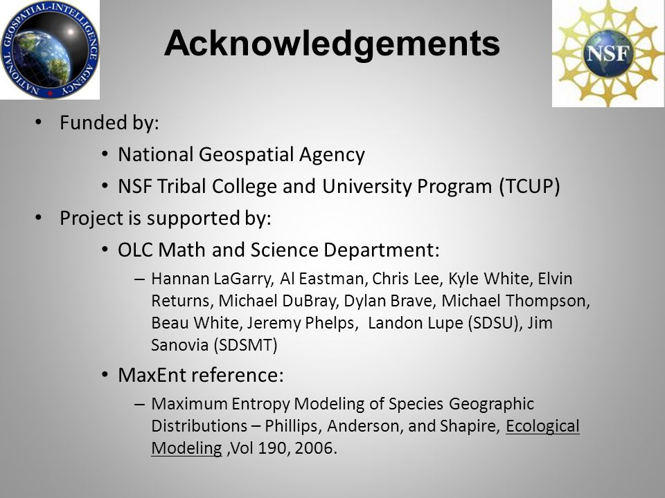Acknowledgements Funded by: National Geospatial Agency