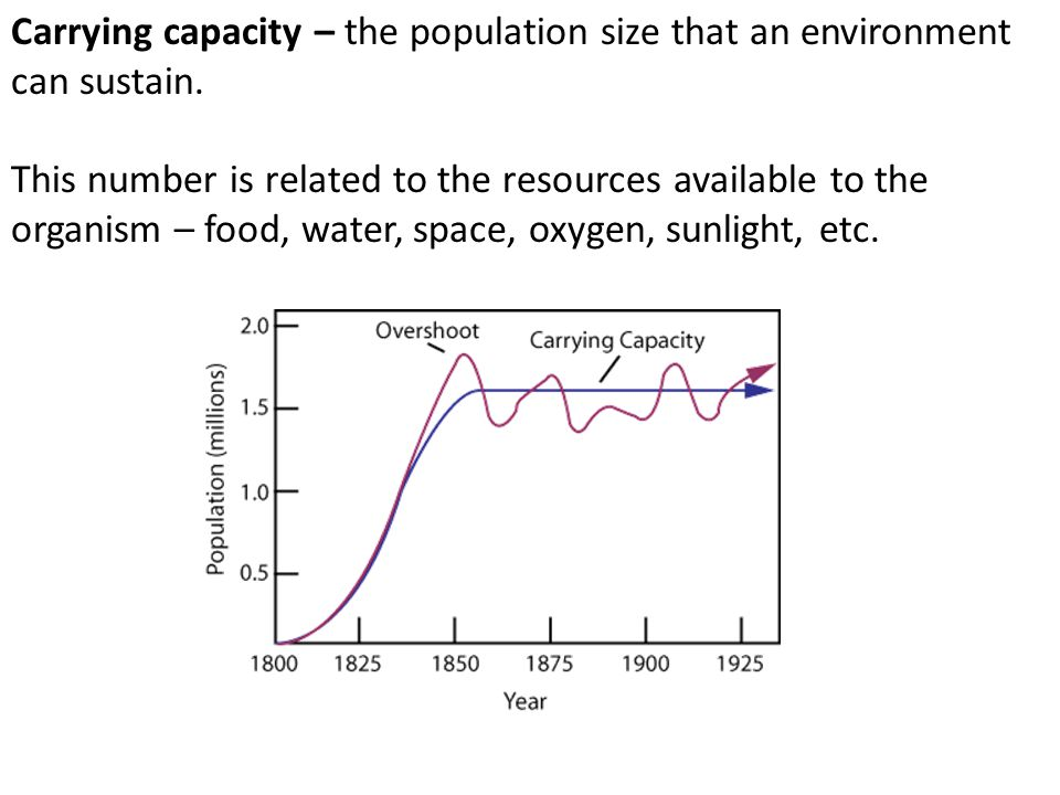 Carrying capacity – the population size that an environment can sustain.
