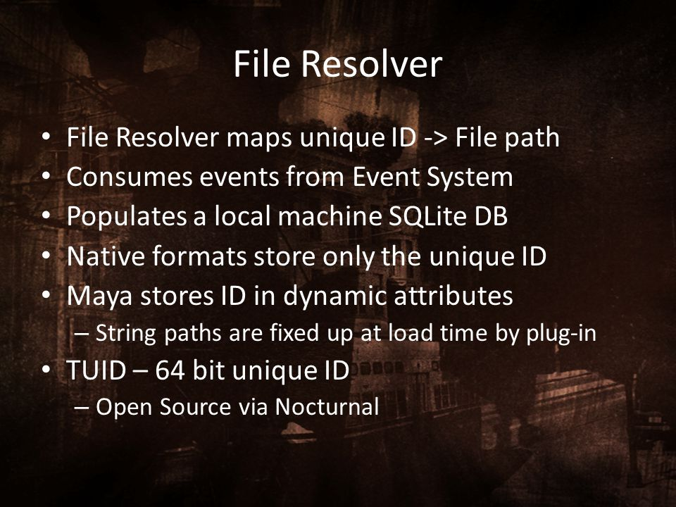 File Resolver File Resolver maps unique ID -> File path