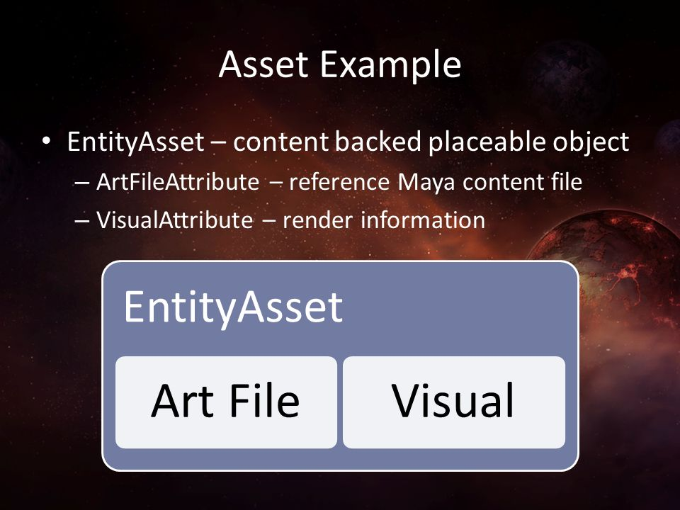 Asset Example EntityAsset – content backed placeable object