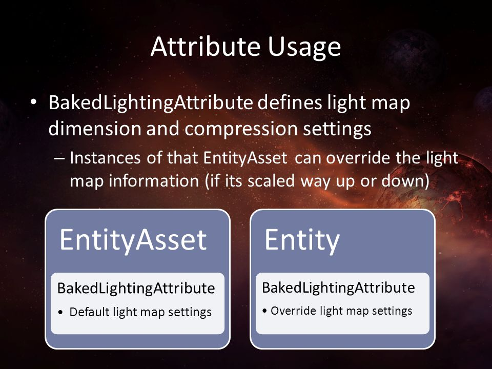 Attribute Usage BakedLightingAttribute defines light map dimension and compression settings.