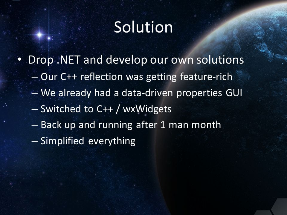Solution Drop .NET and develop our own solutions
