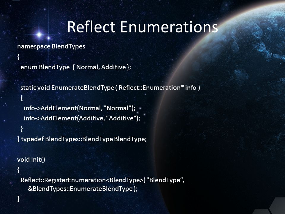 Reflect Enumerations