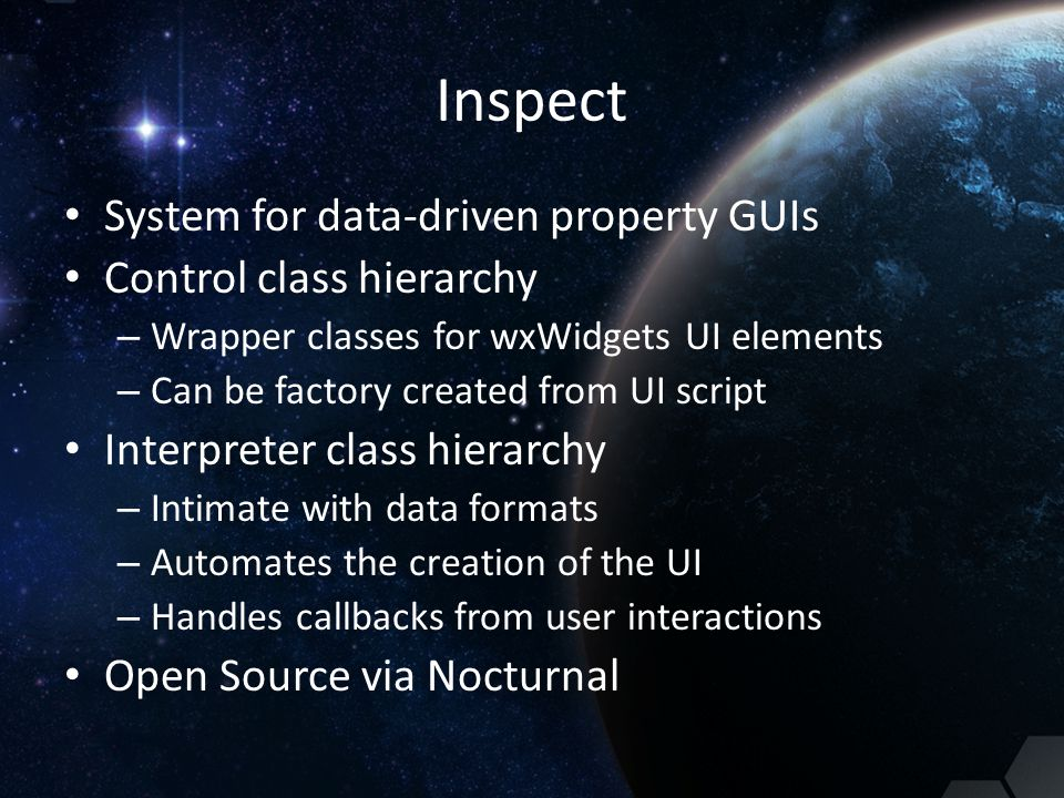 Inspect System for data-driven property GUIs Control class hierarchy