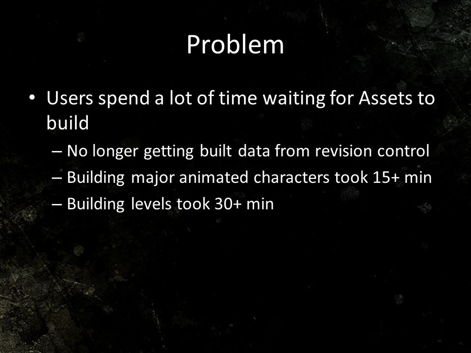 Problem Users spend a lot of time waiting for Assets to build
