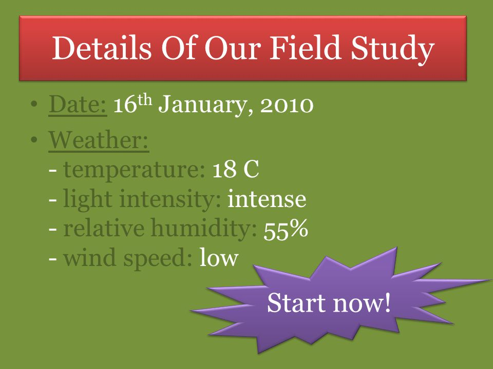 Details Of Our Field Study