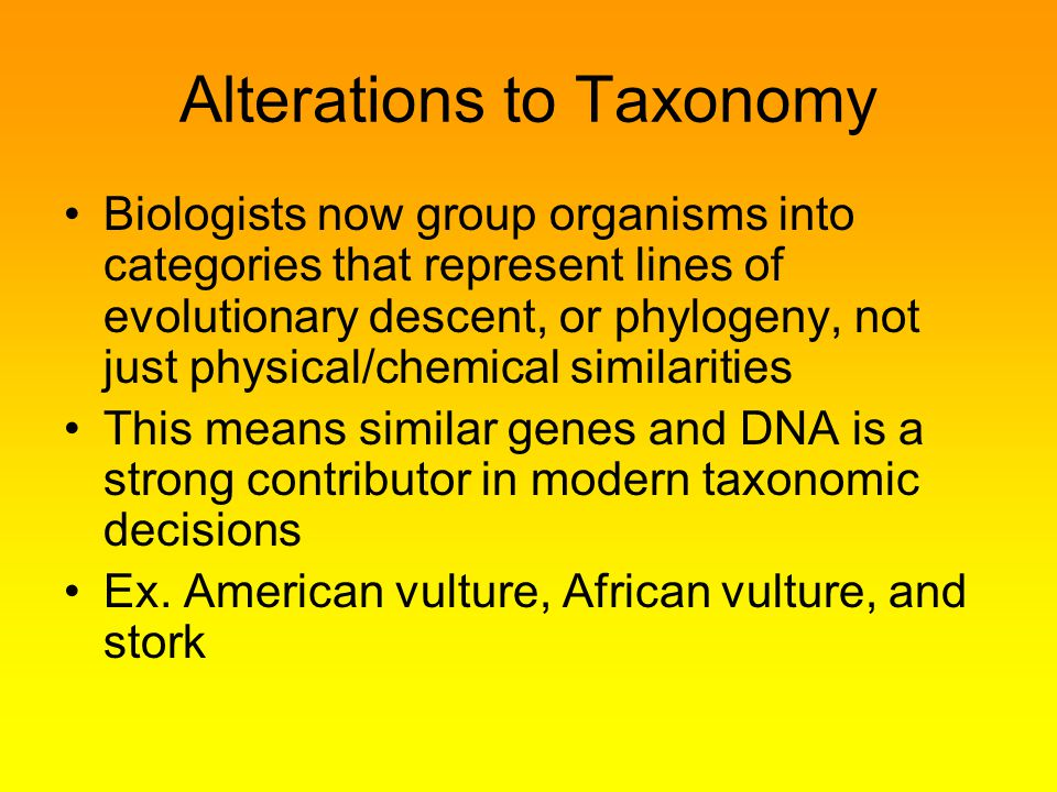 Alterations to Taxonomy