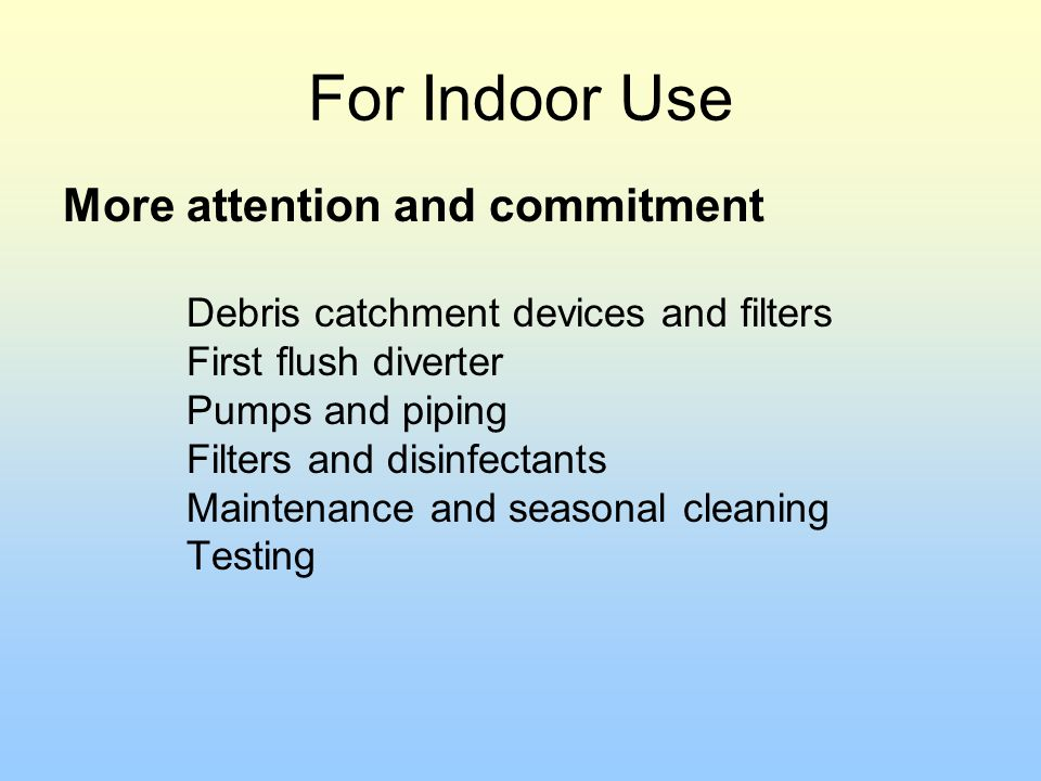 For Indoor Use More attention and commitment