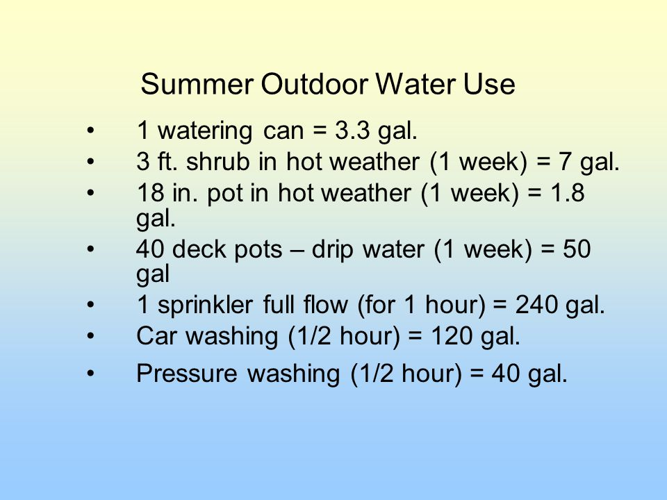 Summer Outdoor Water Use