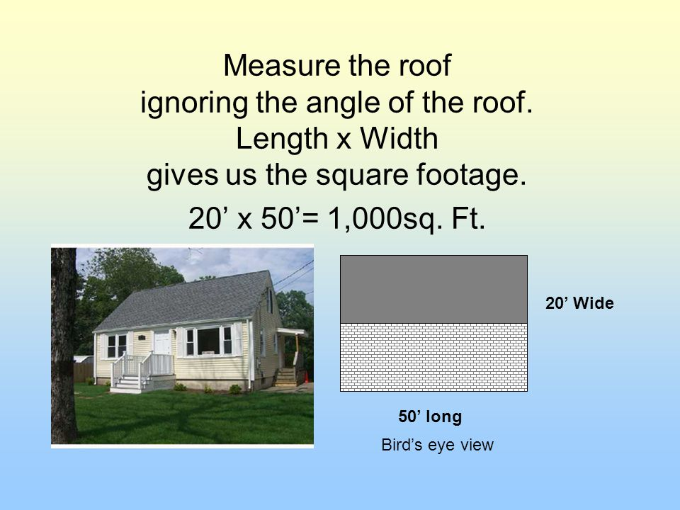 Measure the roof ignoring the angle of the roof