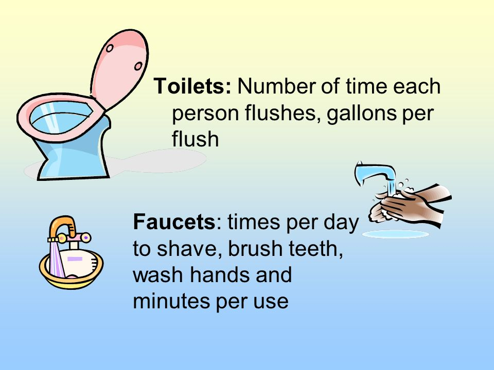 Toilets: Number of time each person flushes, gallons per flush