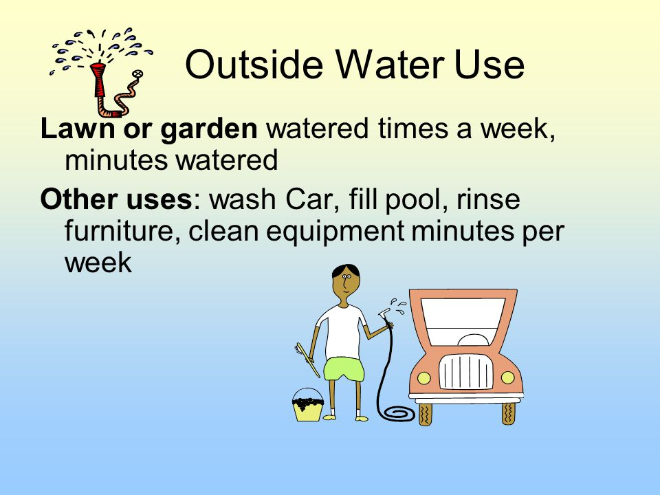 Outside Water Use Lawn or garden watered times a week, minutes watered