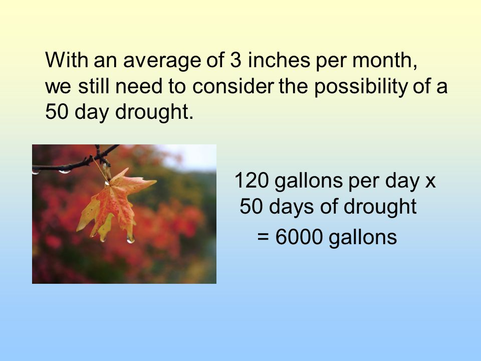With an average of 3 inches per month, we still need to consider the possibility of a 50 day drought.