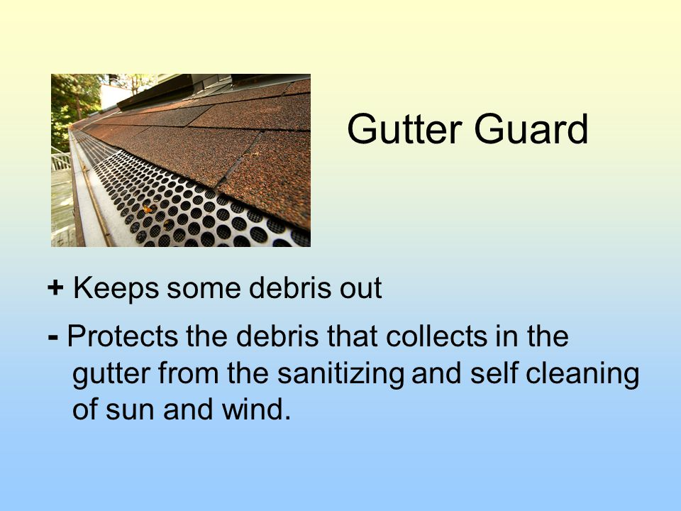 Gutter Guard + Keeps some debris out.