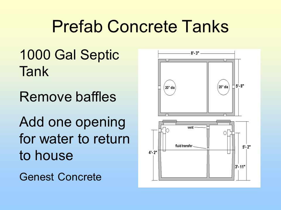 Prefab Concrete Tanks 1000 Gal Septic Tank Remove baffles